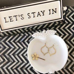 Other - Apple Trinket Tray Ring Dish White Ceramic